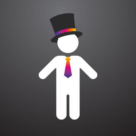 mayor: white figure with a top hat and colorful tie