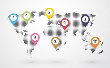mapa do mundo pontilhada com a marcação de pino fusos horários Ilustração