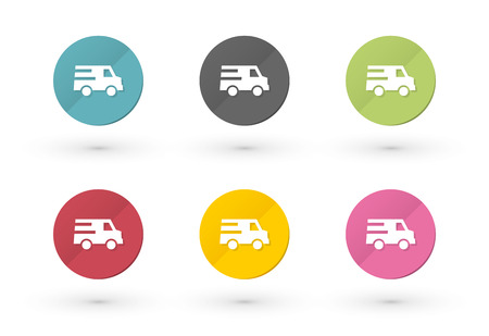 Icons car delivery in multiple colors Vector