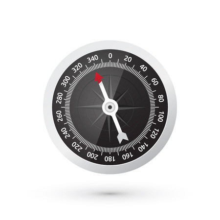 classic compass black watch face with a red arrow Vector