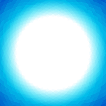Bright lights blue geometric background with white center Stock Illustratie