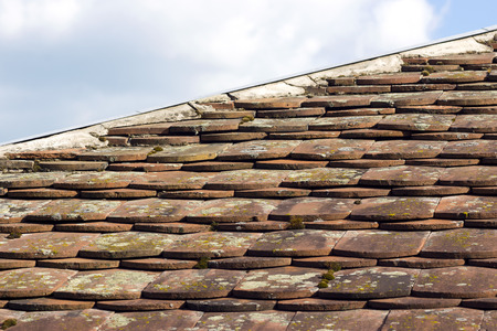 mossy: Old mossy tiled roof