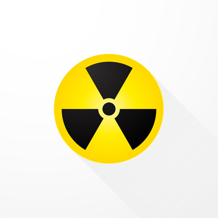 warning signs: symbol radioactivity with long shadows Illustration