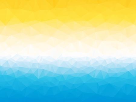 summer yellow blue white triangular background with horizon
