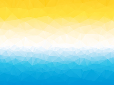 summer yellow blue white triangular background with horizon