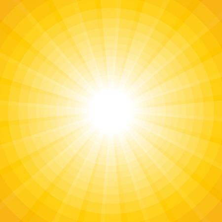 Gelben Hintergrund mit einem weißen Sonne mit Strahlen und Kreise Standard-Bild - 41238990
