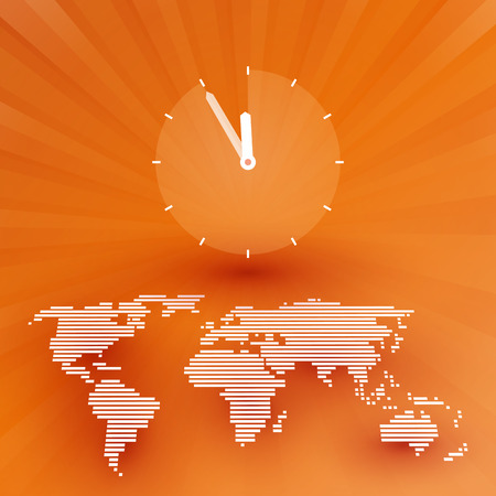 countdown clock: Orange world map with a countdown clock