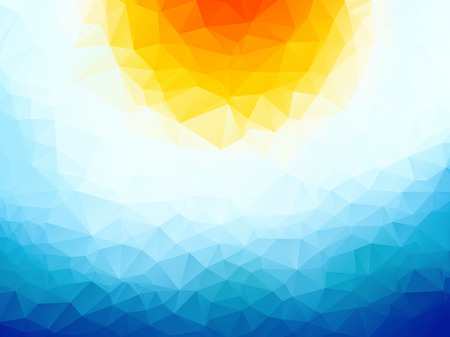 sunny sky: sun over the ocean triangular background