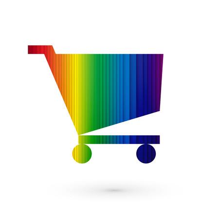 szivárvány: szivárvány csíkos bevásárlókocsik Illusztráció