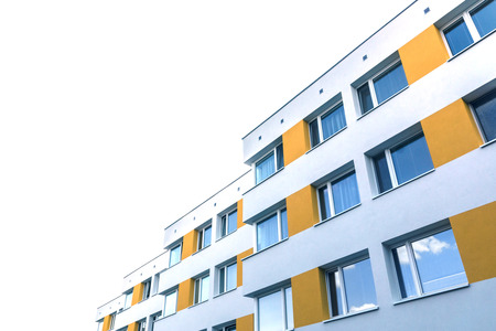 repaired: Modern building facade repaired Stock Photo