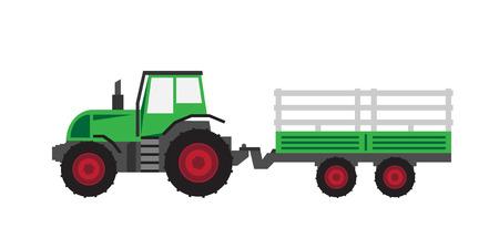 트레일러가있는 녹색 트랙터 일러스트