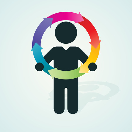 process flow: black silhouette of a man holds color wheel of arrows
