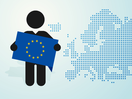 figure man holds EU flag europe map background Ilustração