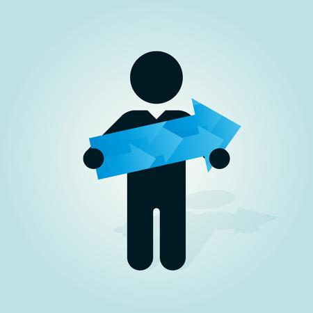 blue arrow: figure man holds blue arrow