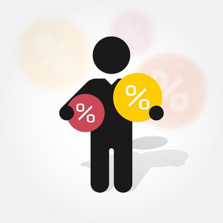 figure man holds symbol percent discounts Stock Illustratie
