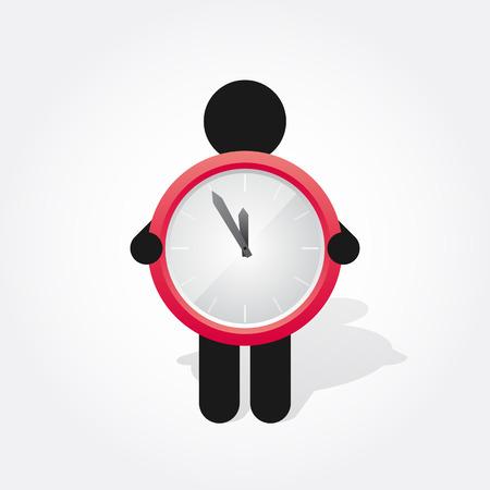 reloj: figura hombre sostiene un reloj rojo simple