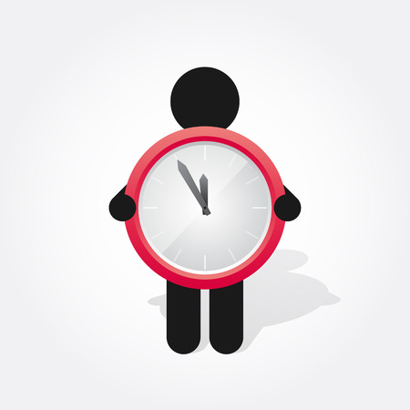 time clock: figure man holds Simple red clock