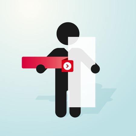 tab: figure man holds sign and a red tab