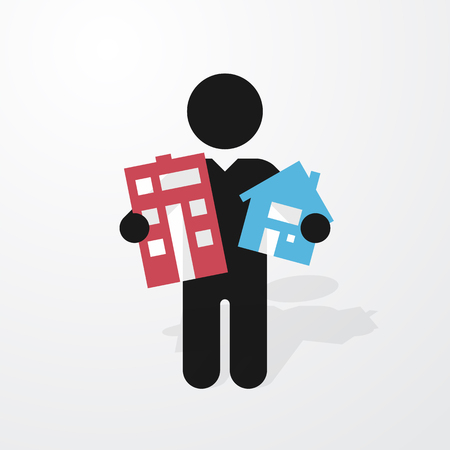 holds: figure man holds symbol house and apartment