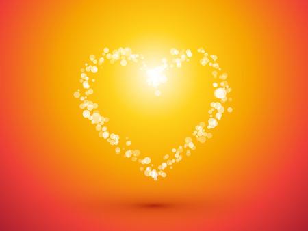 Herz von kleinen Punkten auf orange Hintergrund Standard-Bild - 49154011