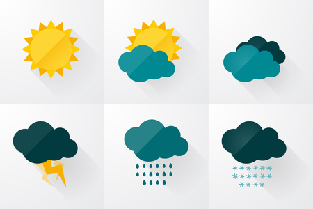 storm: set of weather vector icons flat design