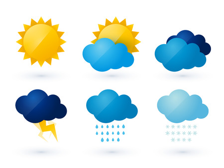 sky clouds: set of weather vector icons Illustration