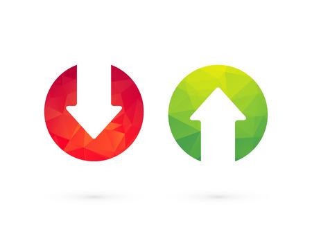 Arriba abajo de flechas verdes rojos