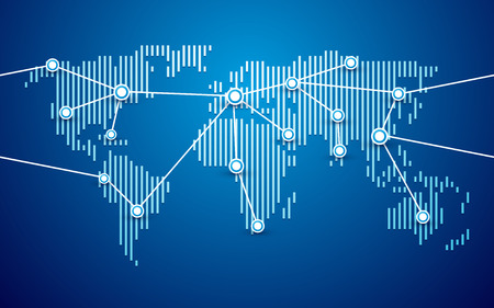 world map connection blue background