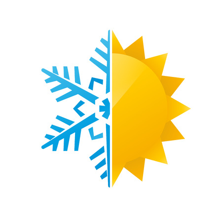 snowflake and sun icon Vectores