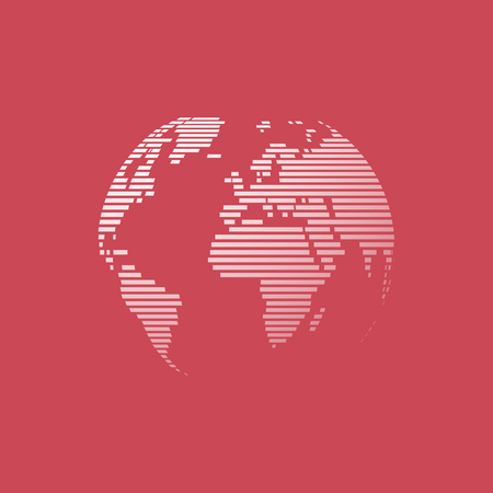 globus: white earth on red background
