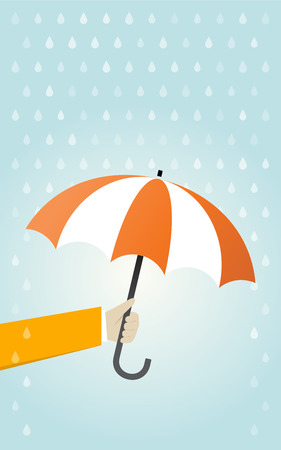 weatherproof: Hand holding orange umbrella rain protection Illustration