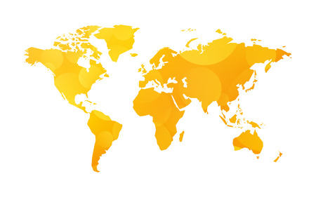 Yellow World Map Illustration On Bokeh Background Royalty Free