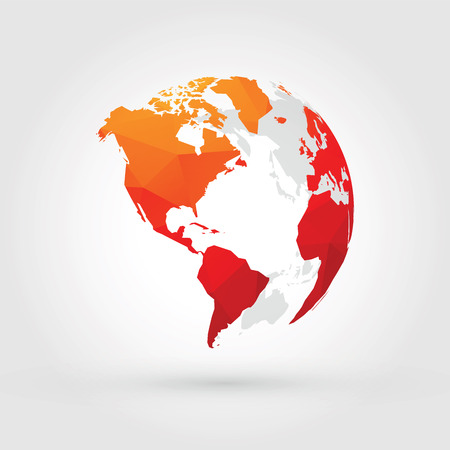 orange red globe north, central and south america Illustration