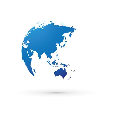 blue world earth globe asia japan