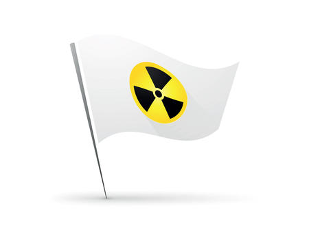 Radiation round sign on white flag
