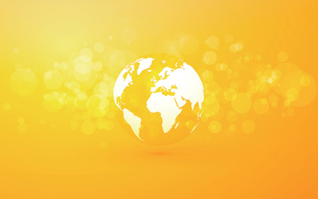 Earth globe abstract bokeh yellow background