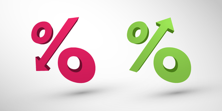 market bottom: Percentage decrease and growth 3d icons
