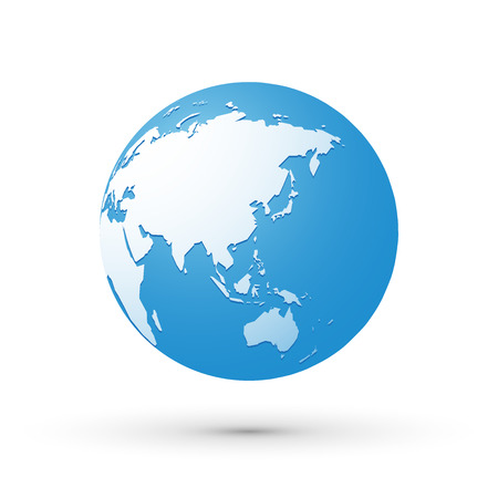 oceania: blue world earth globe asia japan internet concept