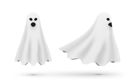 white cartoon ghost front and side view vector illustration.