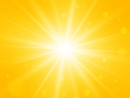 렌즈 플레어와 태양 추상적 인 벡터 여름 노란색 광선 배경
