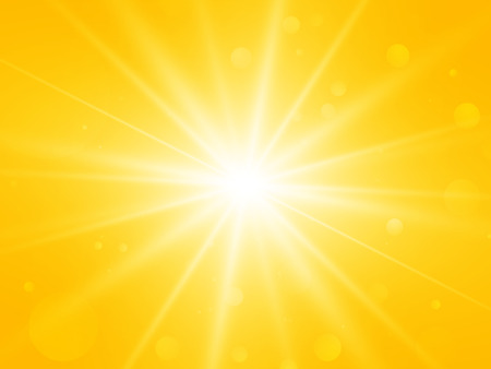 sun with lens flare abstract vector summer yellow rays background