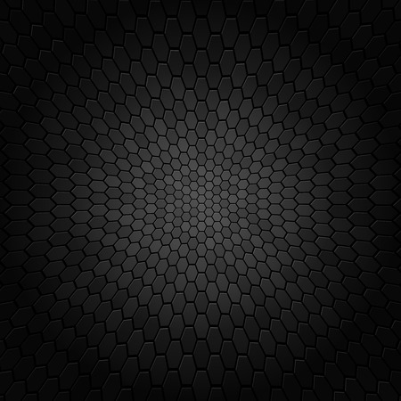 black metallic background: Curved hexagonal black texture background