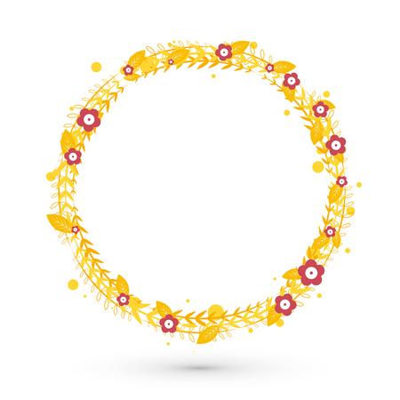 Floral frame circle vector