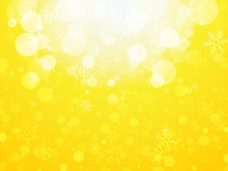 white yellow abstract Christmas background with snowflakes Ilustração