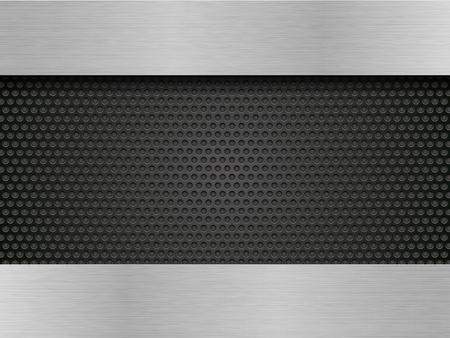 brushed metal plate on black perforated sheets Standard-Bild - 104299303