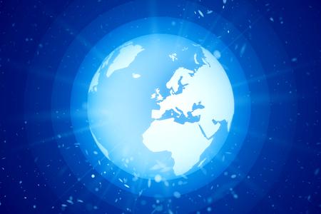 world globe in space with light rays Standard-Bild - 104298821