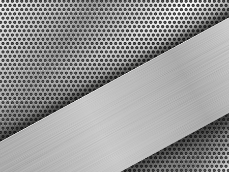 brushed silver plates on black perforated metal pattern Standard-Bild - 104298826