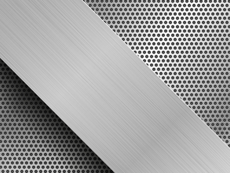 brushed silver plates on black perforated metal sheets