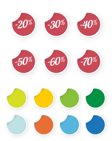 sale icons colored stickers set Standard-Bild - 112177176