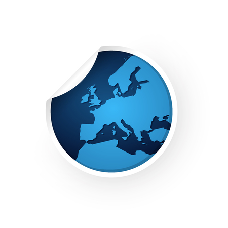 blue europe map icon sticker Standard-Bild - 106229393